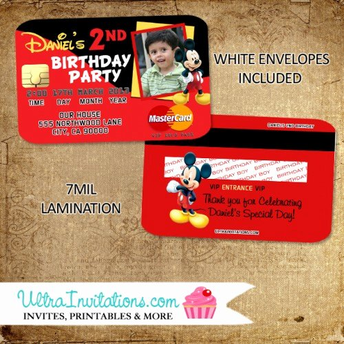 Mickey Mouse Invitation Card Best Of Mickey Mouse Credit Card Invitations Birthday Party Invites