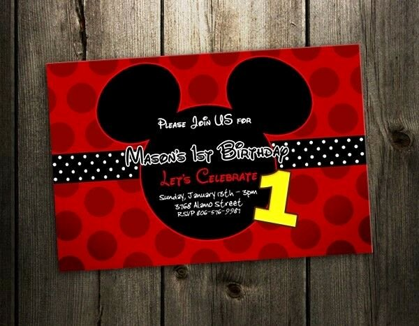 Mickey Mouse Invitation Card Best Of Mickey Mouse Invitation Birthday Party Card Photo Red
