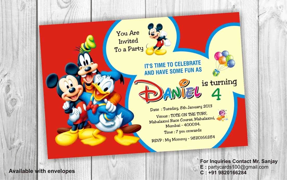 Mickey Mouse Invitation Card Fresh Birthday Party Invitation Card Invite Personalised Return