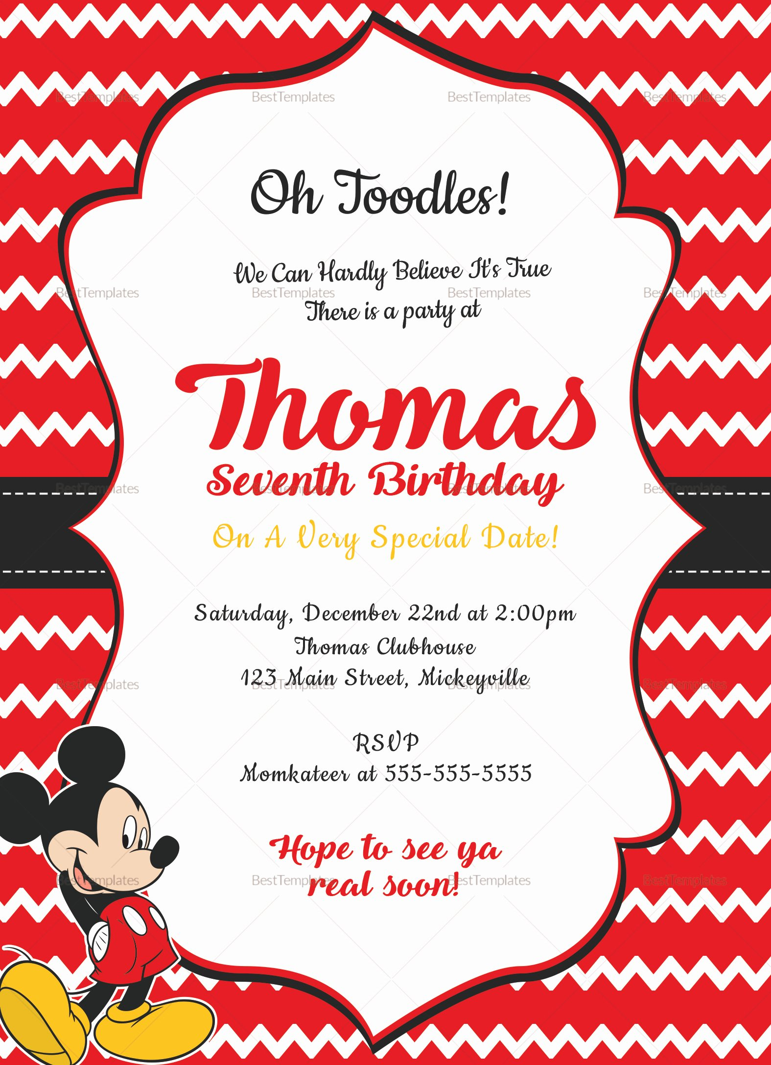 Mickey Mouse Invitation Card Fresh Editable Mickey Mouse Birthday Invitation Card Design