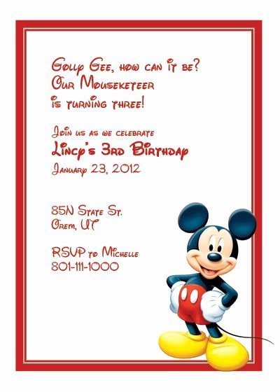 Mickey Mouse Invitation Card Fresh Mickey Mouse Birthday Invitation Template