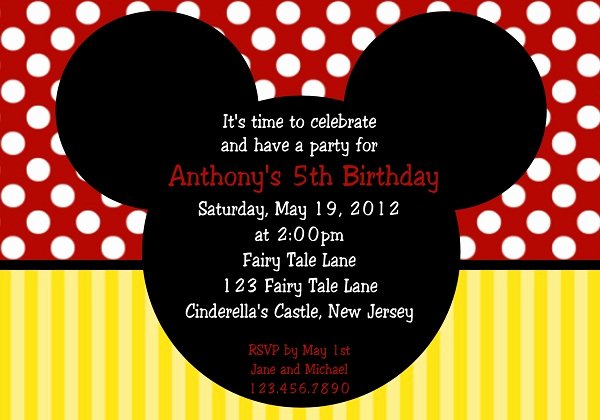 Mickey Mouse Invitation Card Inspirational First Birthday Invitation 365greetings