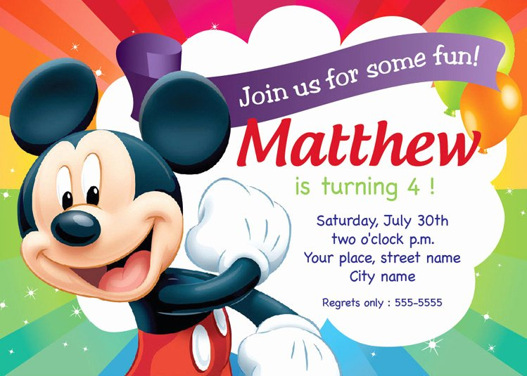 Mickey Mouse Invitation Card Inspirational Mickey Mouse Birthday Invitation Card Printable Template
