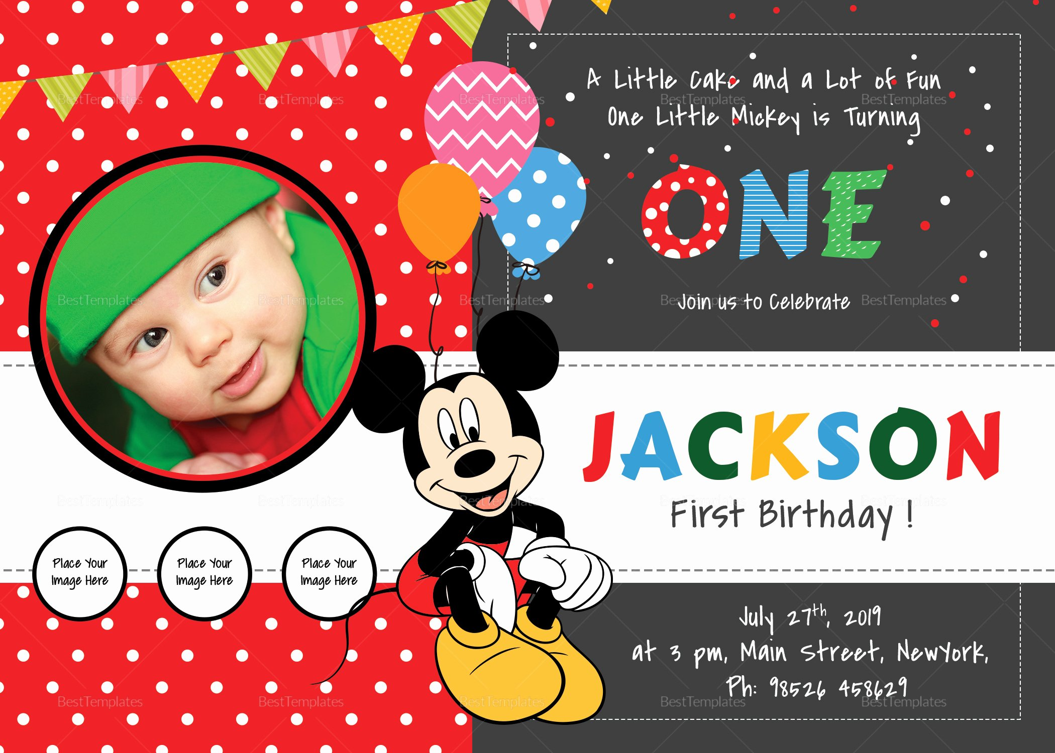 Mickey Mouse Invitation Maker Fresh Exciting Mickey Mouse Birthday Invitation Card Design