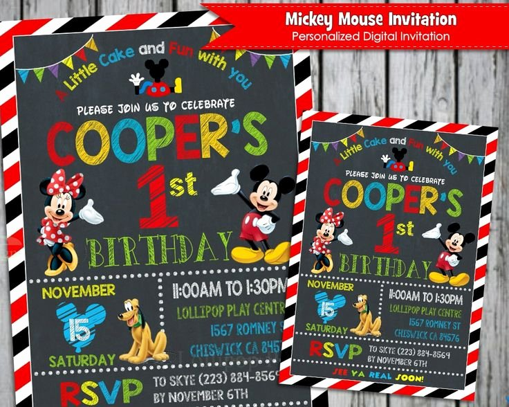 Mickey Mouse Invitation Maker Lovely 1000 Ideas About Mickey Mouse Birthday Invitations On