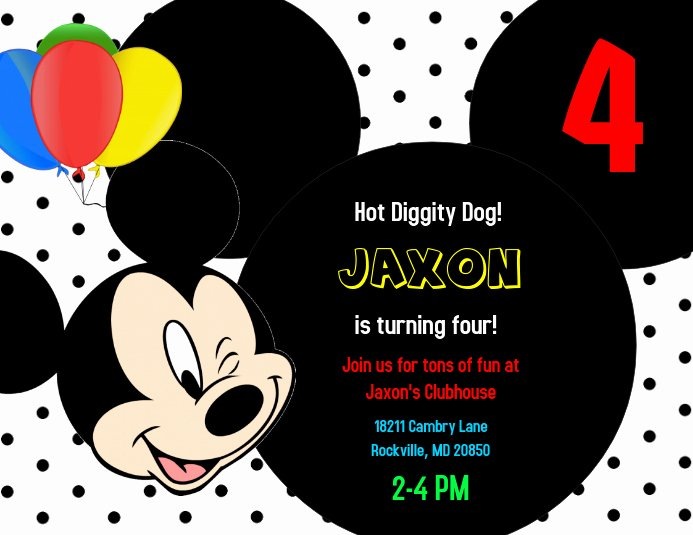 Mickey Mouse Invitation Maker Luxury Mickey Mouse Birthday Invitation Template