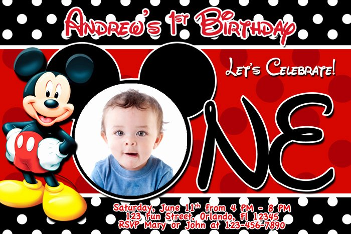 Mickey Mouse Invitation Template Beautiful Free Printable Mickey Mouse 1st Birthday Invitations