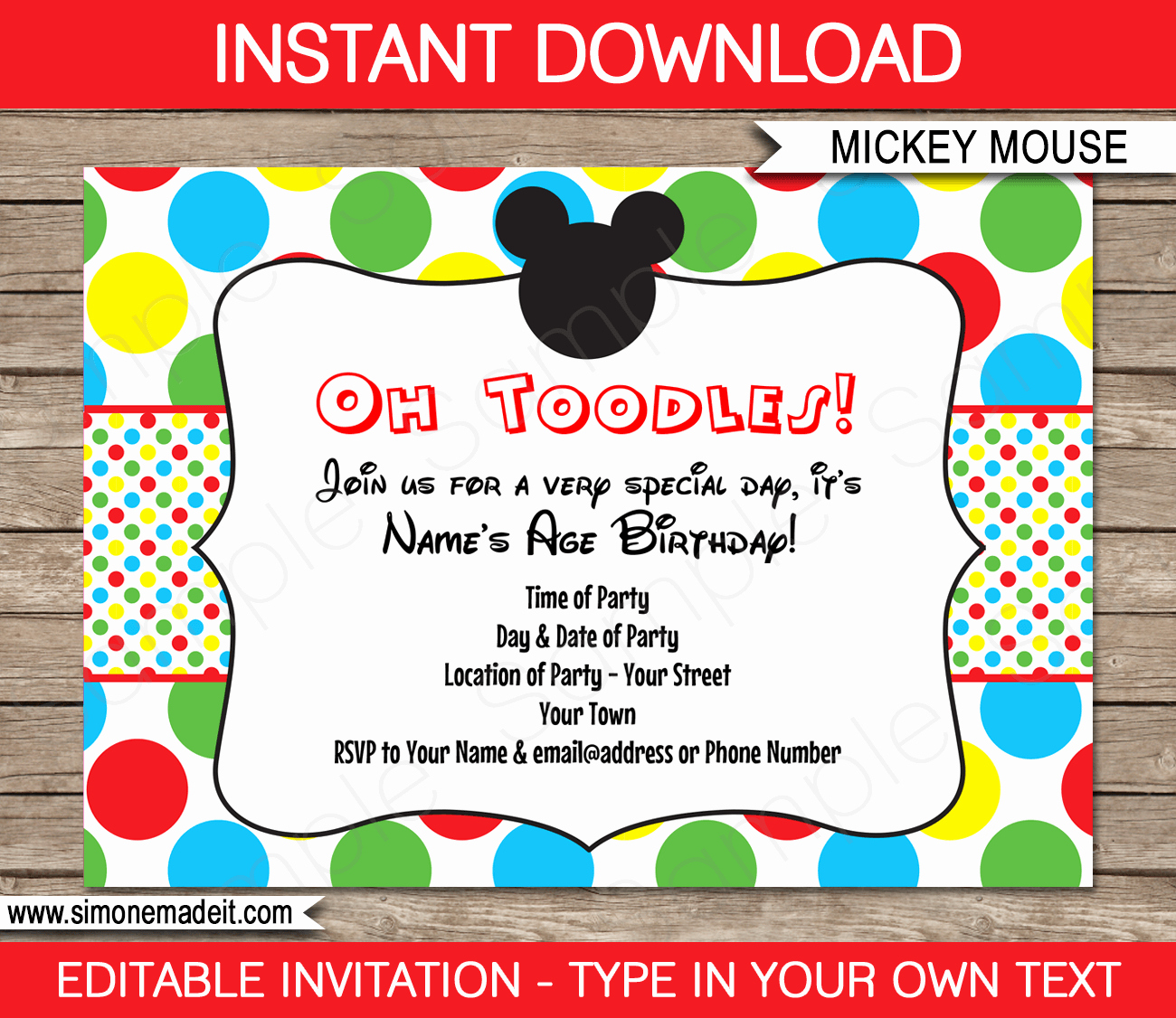 Mickey Mouse Invitation Template Beautiful Mickey Mouse Party Invitations Template