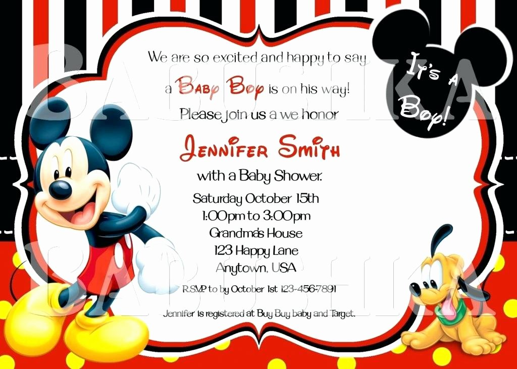 Mickey Mouse Invitation Template Elegant Baby Mickey Invitation Template – askaboutsportsfo