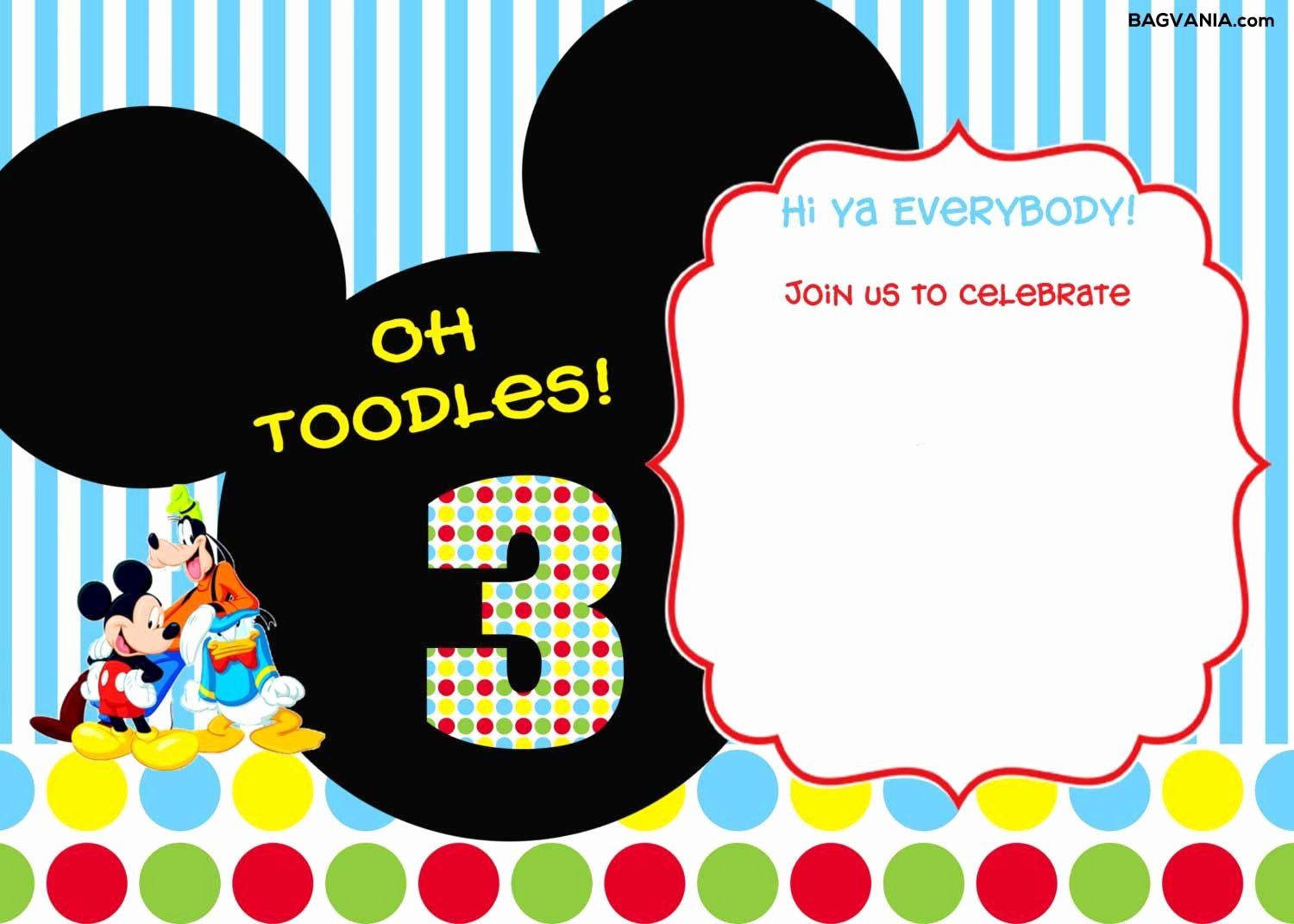 Mickey Mouse Invitation Template Fresh Download Free Printable Mickey Mouse Birthday Invitations