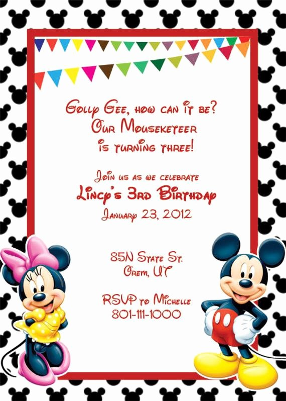 Mickey Mouse Invitation Template Fresh Items Similar to Mickey Mouse Printable Birthday Party