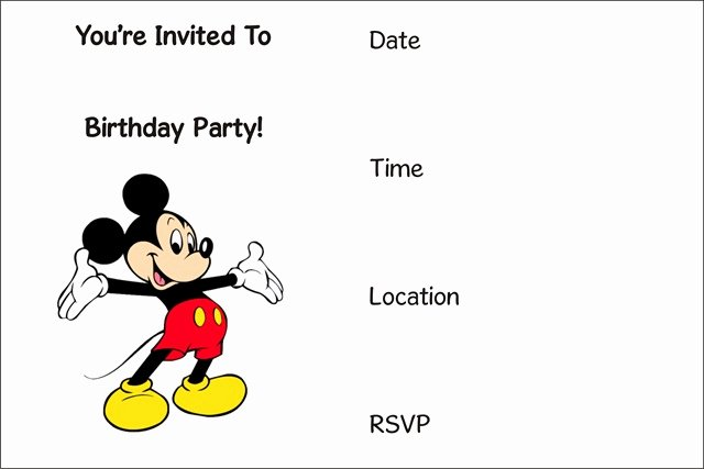 Mickey Mouse Invitation Template Inspirational Invitations Archives