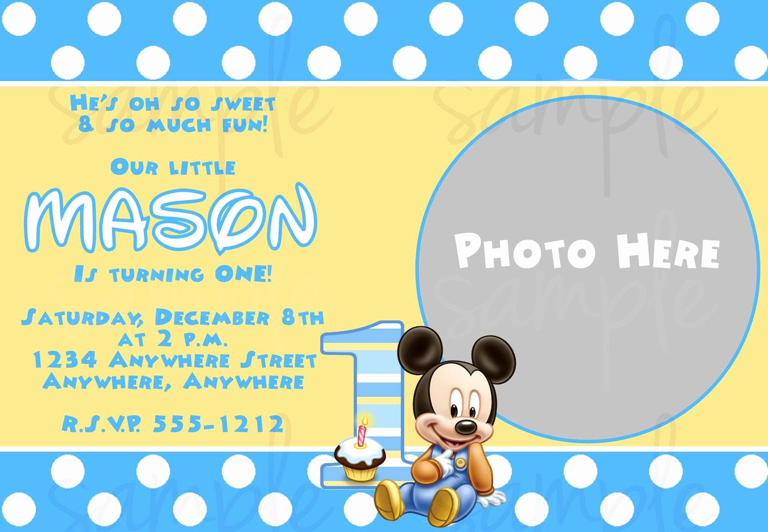 Mickey Mouse Invitation Template Lovely Free Printable Baby Mickey Mouse 1st Birthday Invitations