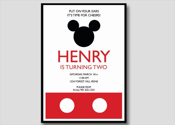 Mickey Mouse Invitation Template Luxury 20 Mickey Mouse Birthday Invitation Templates – Free