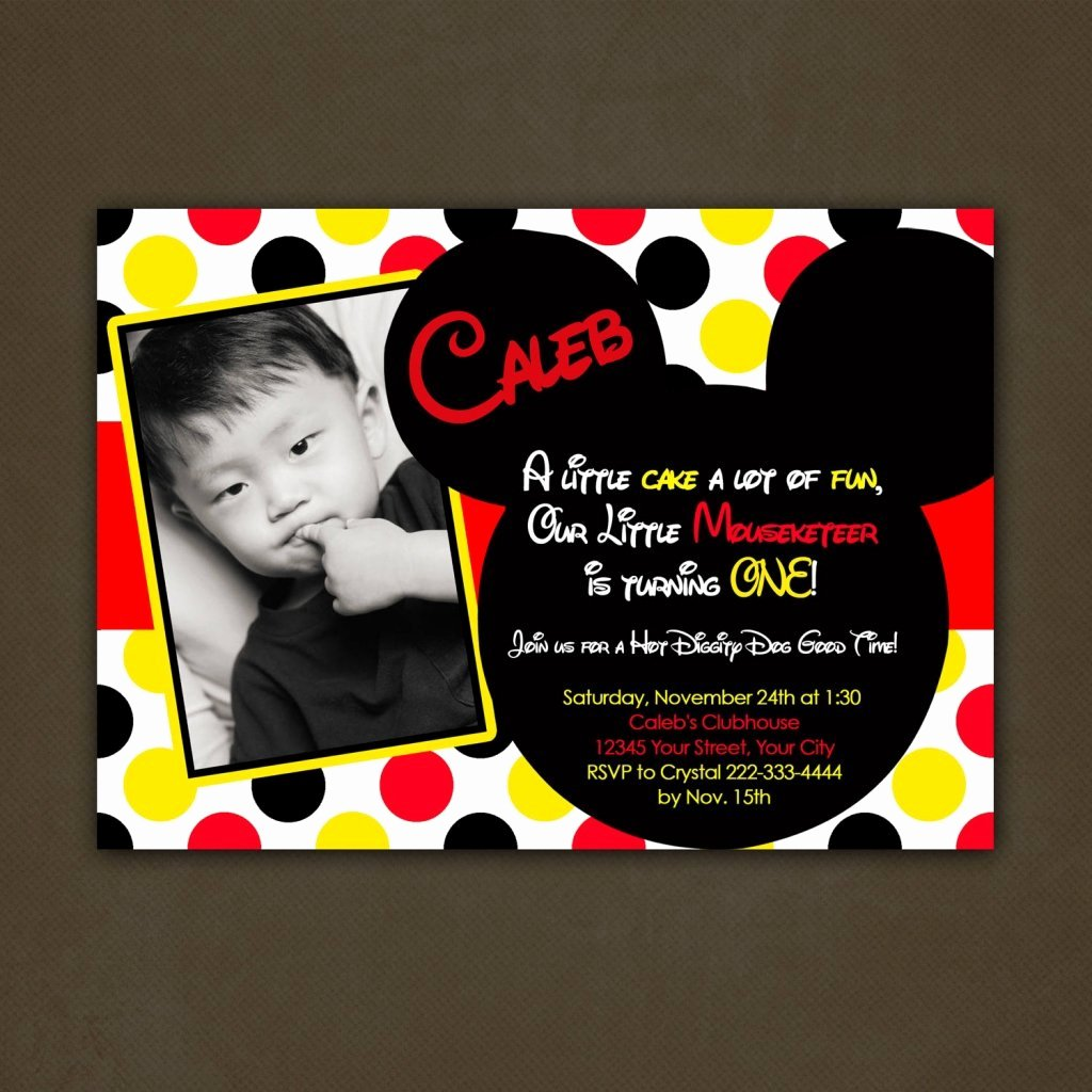 Mickey Mouse Invitation Wording Beautiful Mickey Mouse Birthday Invitations Personalized