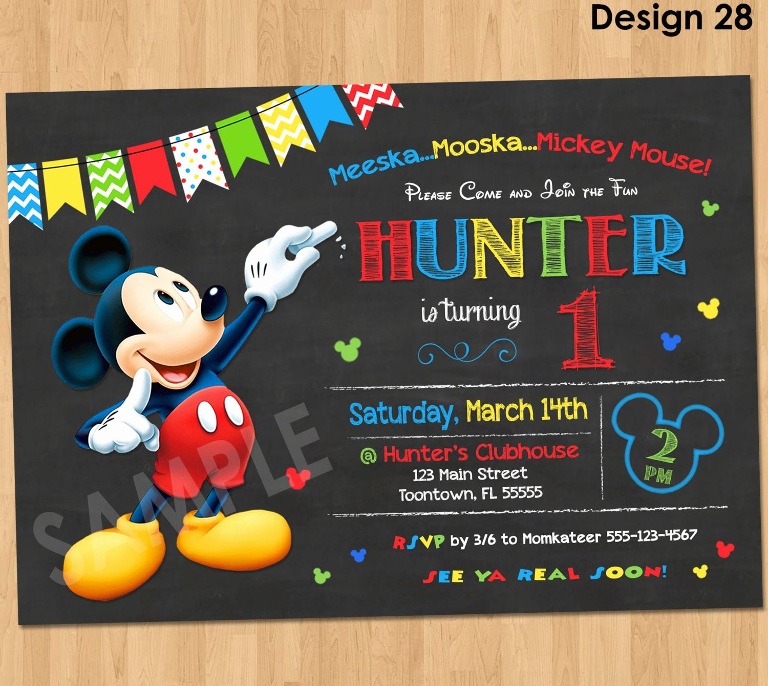 Mickey Mouse Invitation Wording Elegant Mickey Mouse Birthday Invitation Mickey Mouse Clubhouse