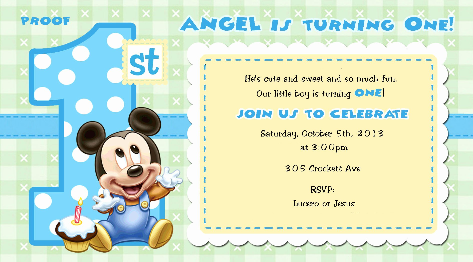 Mickey Mouse Invitations Free Beautiful Mickey Mouse 1st Birthday Invitations for Girls and Boys