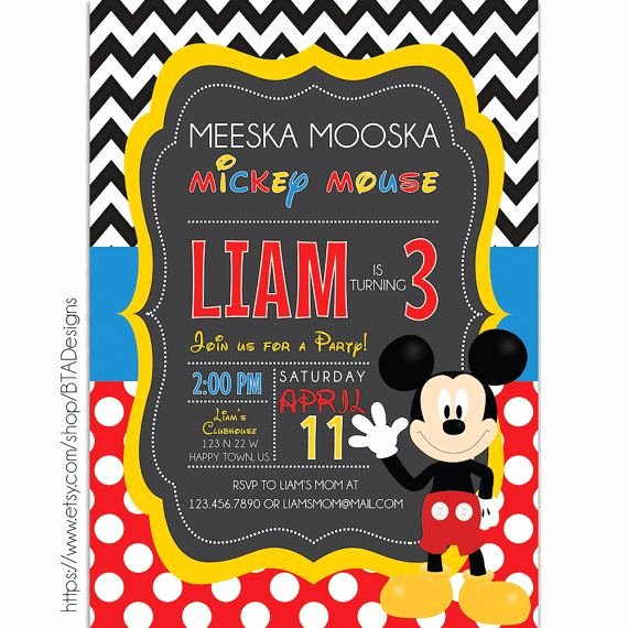 Mickey Mouse Invitations Free Best Of Digital Printable Mickey Mouse Clubhouse Birthday Party