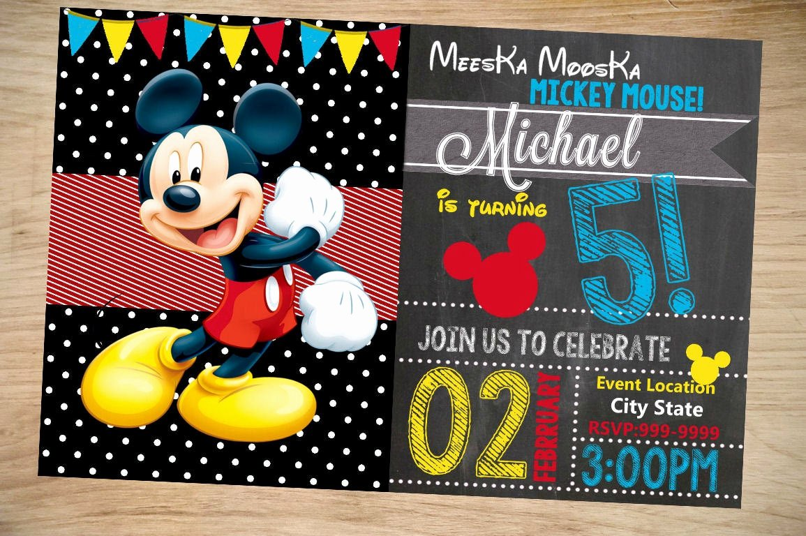 Mickey Mouse Invitations Free Elegant Mickey Mouse Birthday Invitation Birthday Invitation