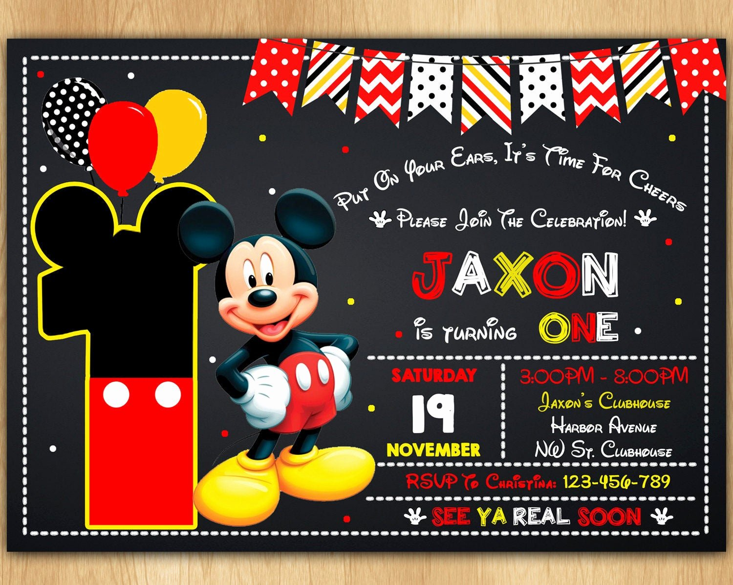 Mickey Mouse Invitations Free Inspirational Mickey Mouse Invitation Mickey Mouse Invite Mickey Mouse