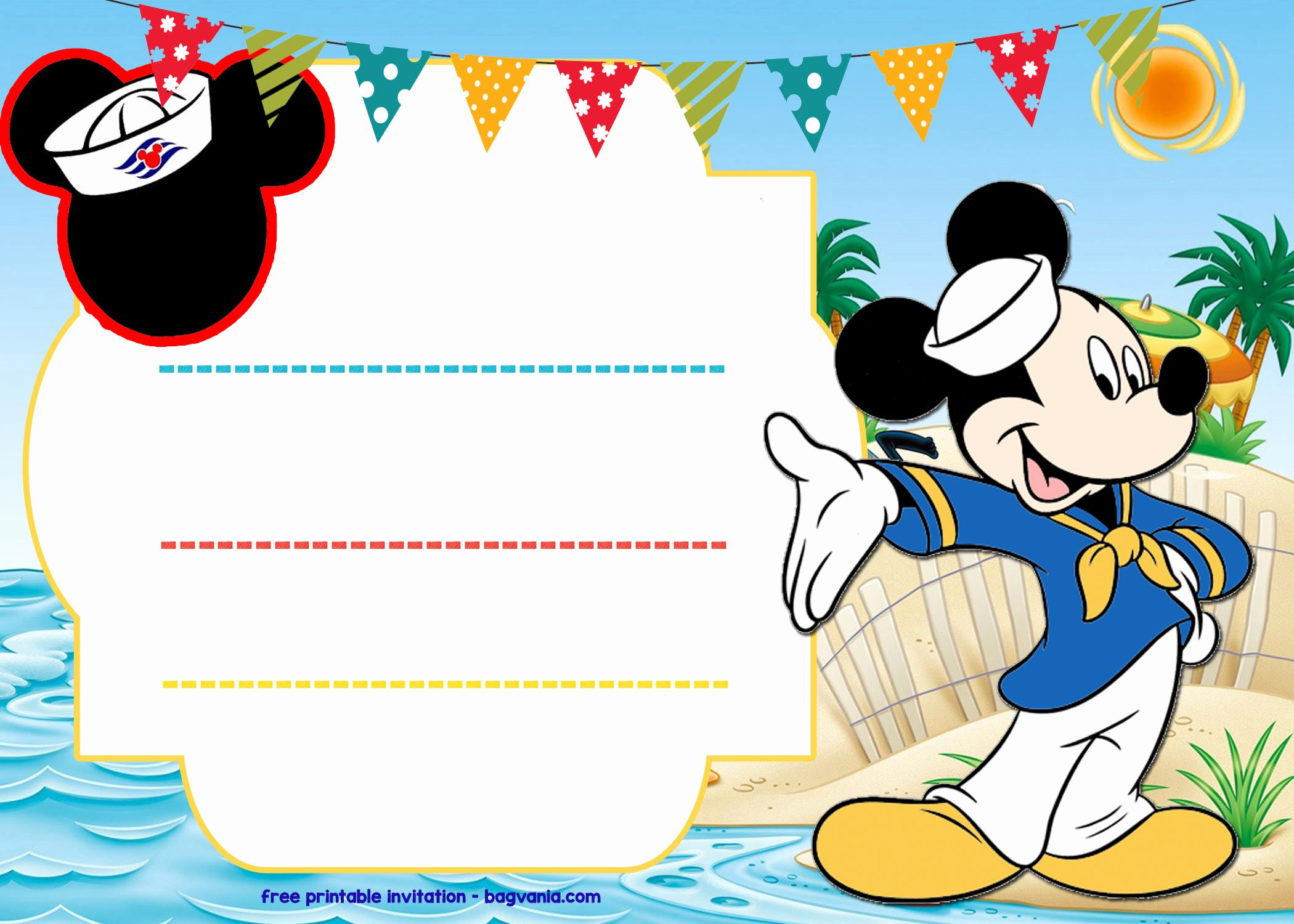 Mickey Mouse Invitations Free Lovely Free Mickey Mouse Sailor Invitation Template – Free