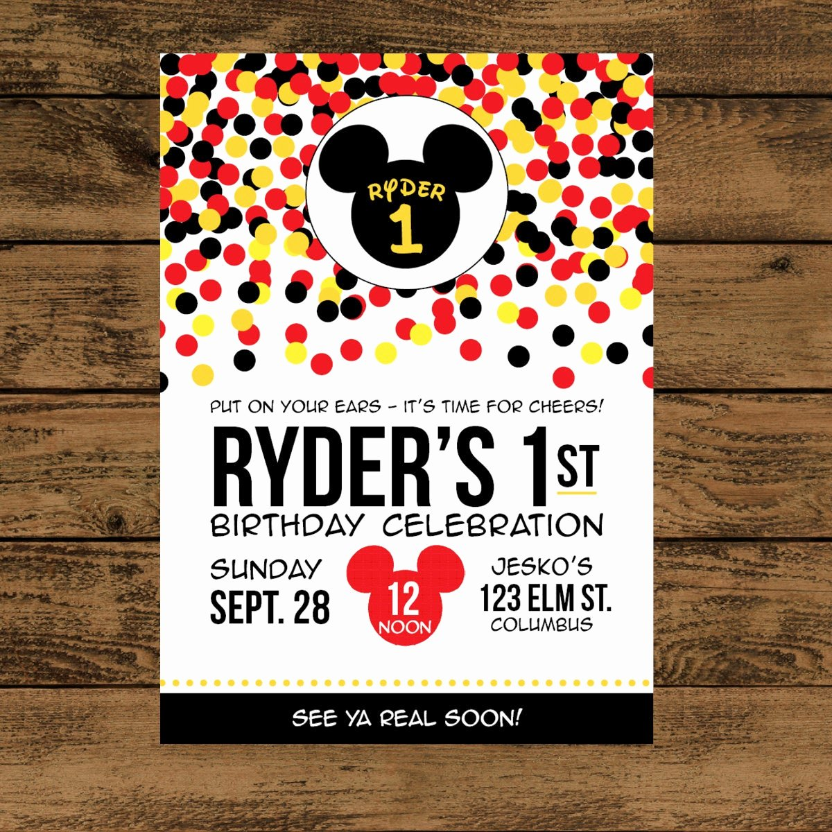 Mickey Mouse Invitations Free Lovely Mickey Mouse Birthday Invitation Digital or Printed
