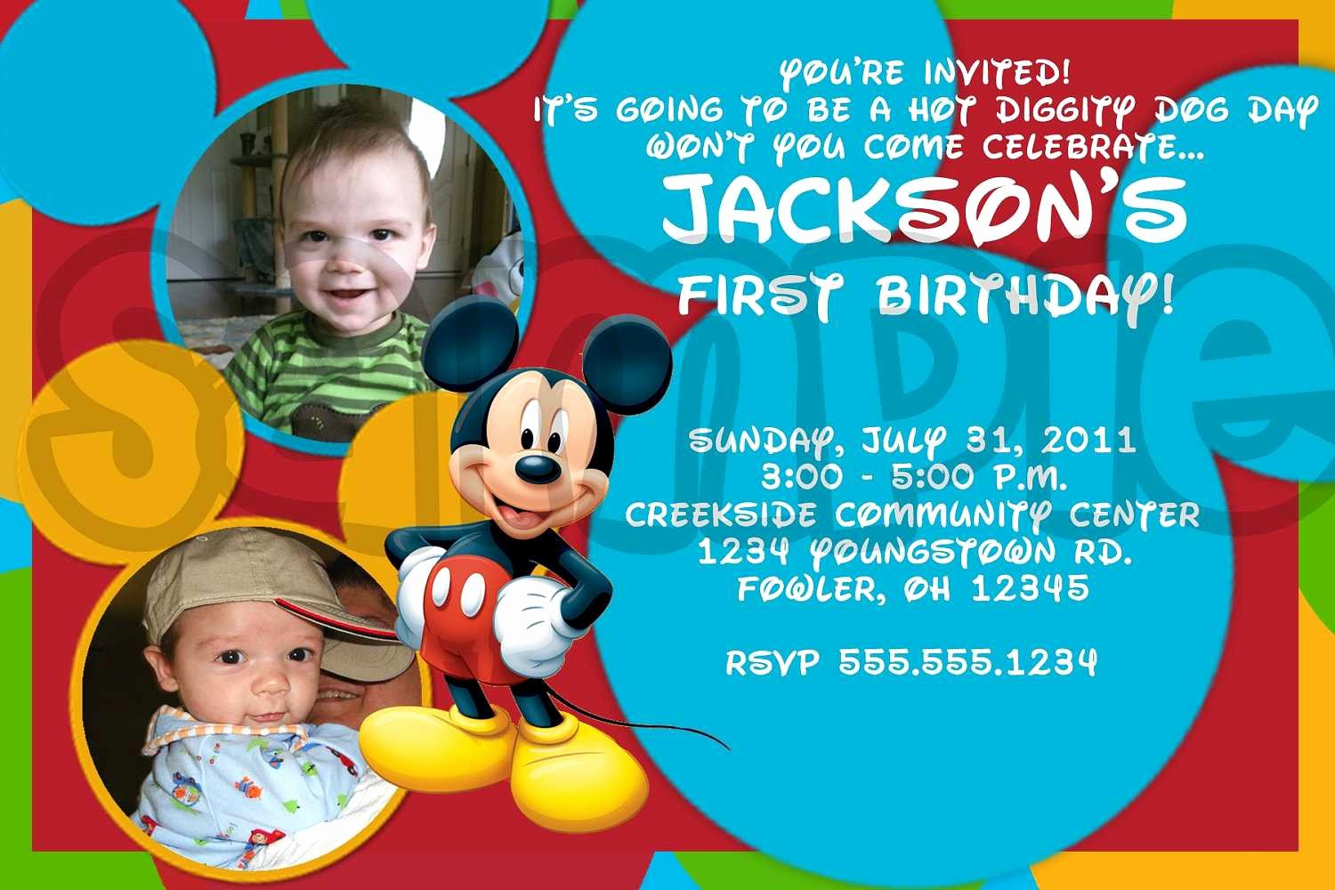 Mickey Mouse Invitations Wording Awesome Mickey Mouse Birthday Invitations