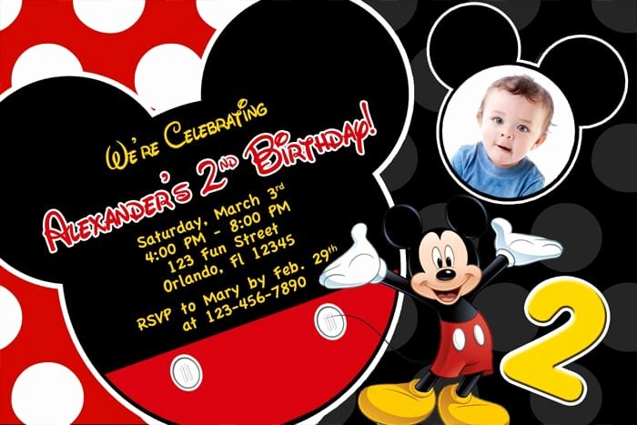 Mickey Mouse Invitations Wording Beautiful Free Printable Birthday Invitations Mickey Mouse