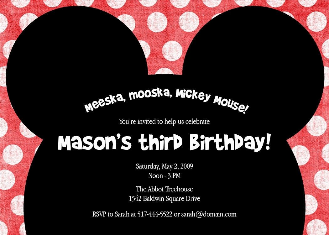 Mickey Mouse Invitations Wording Fresh Meeska Mooska A Cute Mickey Mouse Birthday Party