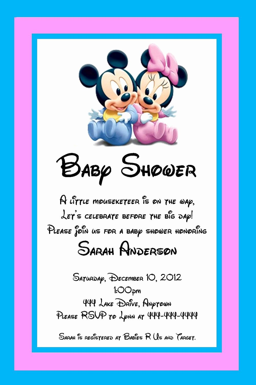 Mickey Mouse Invitations Wording Luxury Baby Mickey and Minnie Mouse Baby Shower Invitation