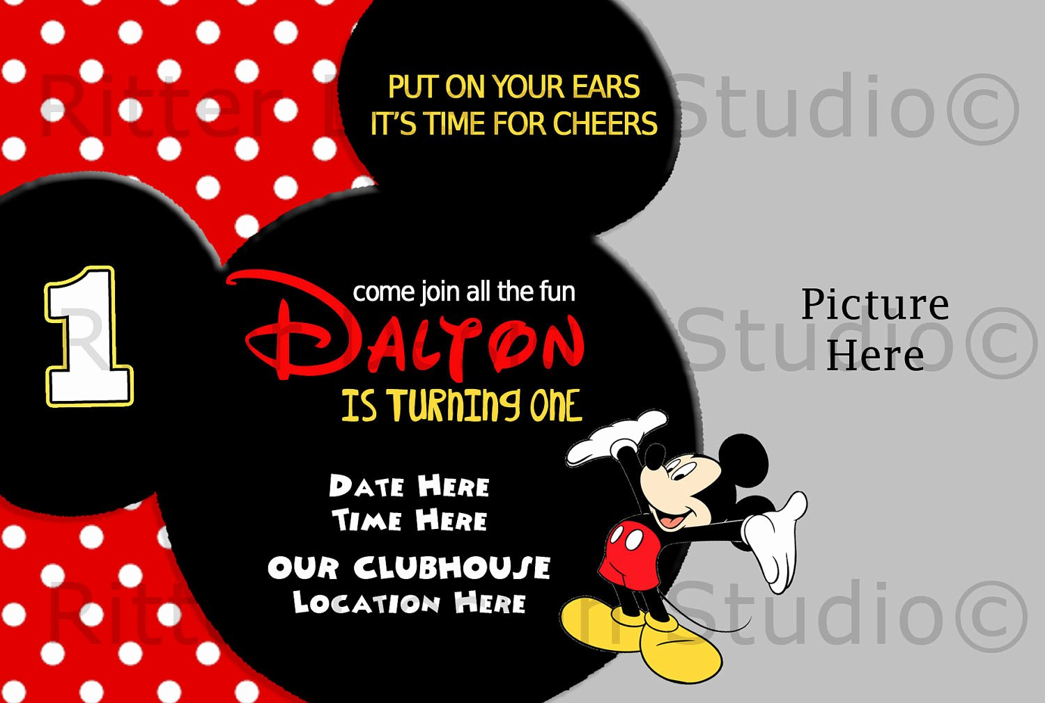 Mickey Mouse Invitations Wording New Mickey Mouse Birthday Invitation by Ritterdesignstudio
