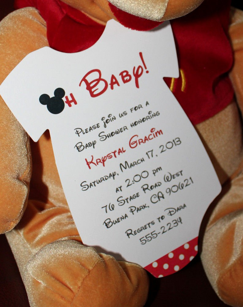Mickey Mouse Invitations Wording New Mickey Mouse Esie Baby Shower Invitation All Wording