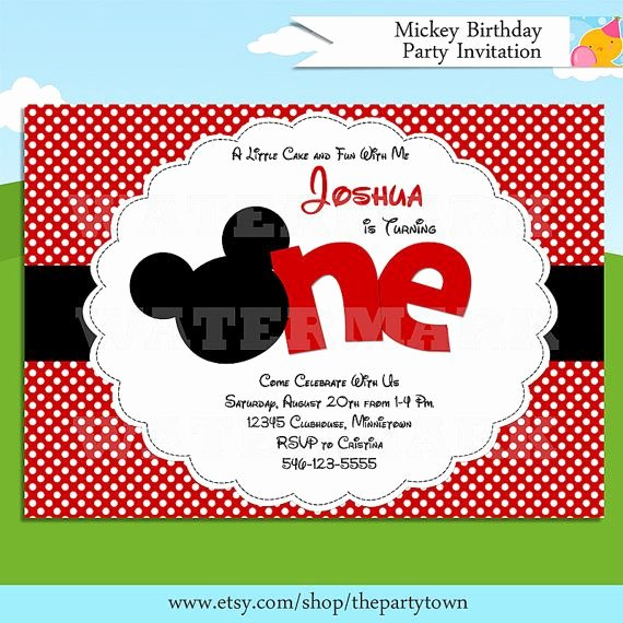 Mickey Mouse Invitations Wording Unique Mickey Mouse Invitation Red Mickey Mouse 1st Birthday