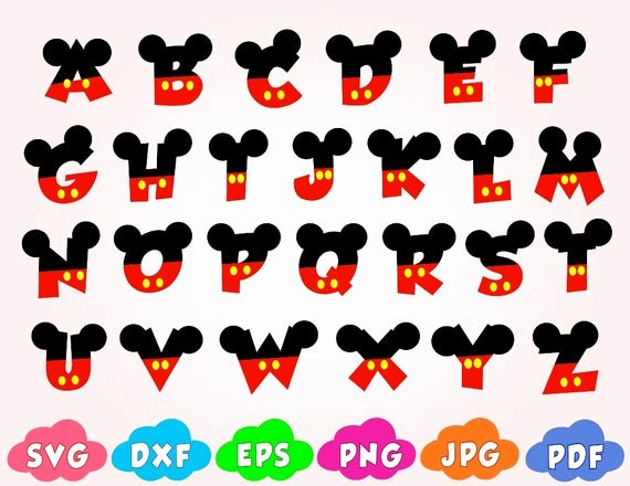 Mickey Mouse Letters Font Beautiful Mickey Font Svgletters with Mickey Mouse Svgdisney