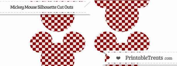 Mickey Mouse Pattern Cut Out Awesome Dark Red Checker Pattern Medium Mickey Mouse Silhouette
