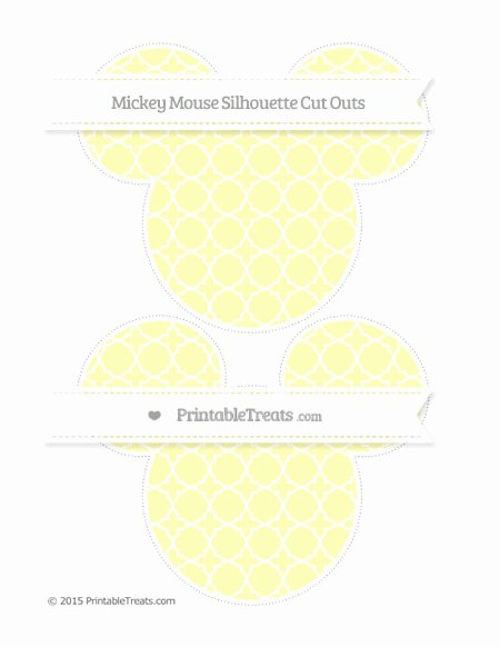Mickey Mouse Pattern Cut Out Elegant Pastel Light Yellow Quatrefoil Pattern Mickey Mouse
