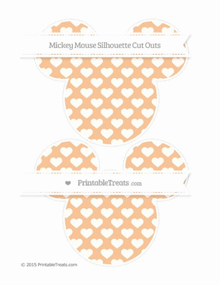 Mickey Mouse Pattern Cut Out Elegant Pastel orange Heart Pattern Mickey Mouse Silhouette