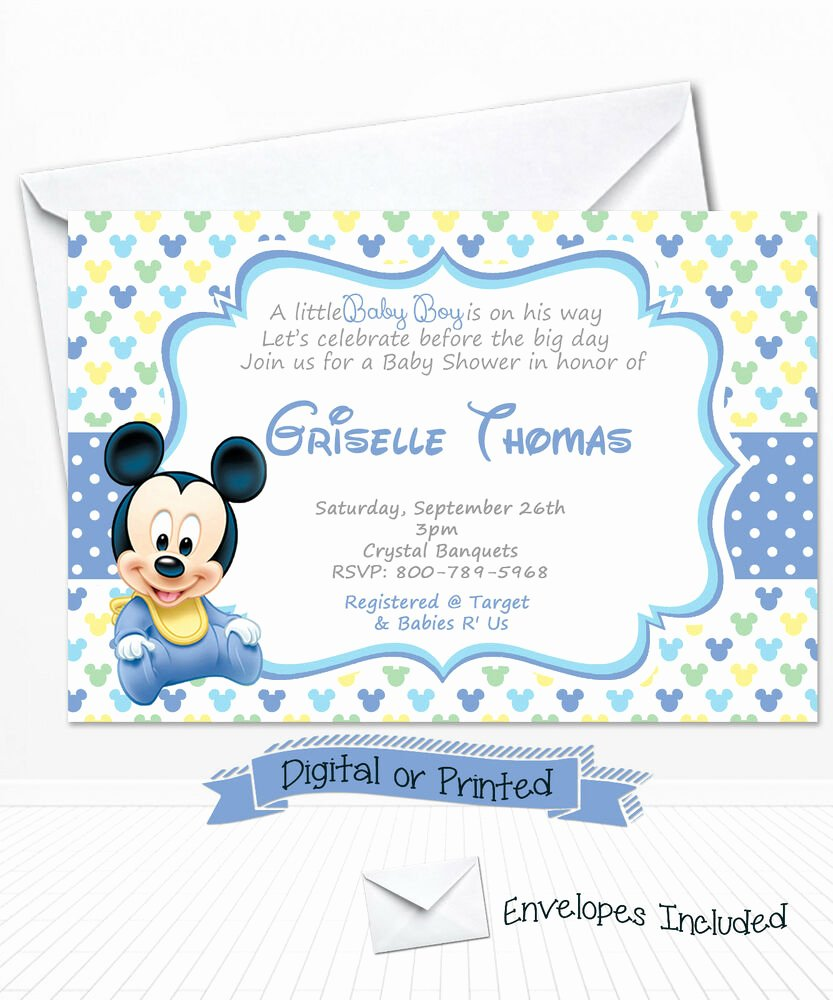 Mickey Mouse Picture Invitations Beautiful Printed Baby Mickey Mouse Baby Shower Invitations Baby