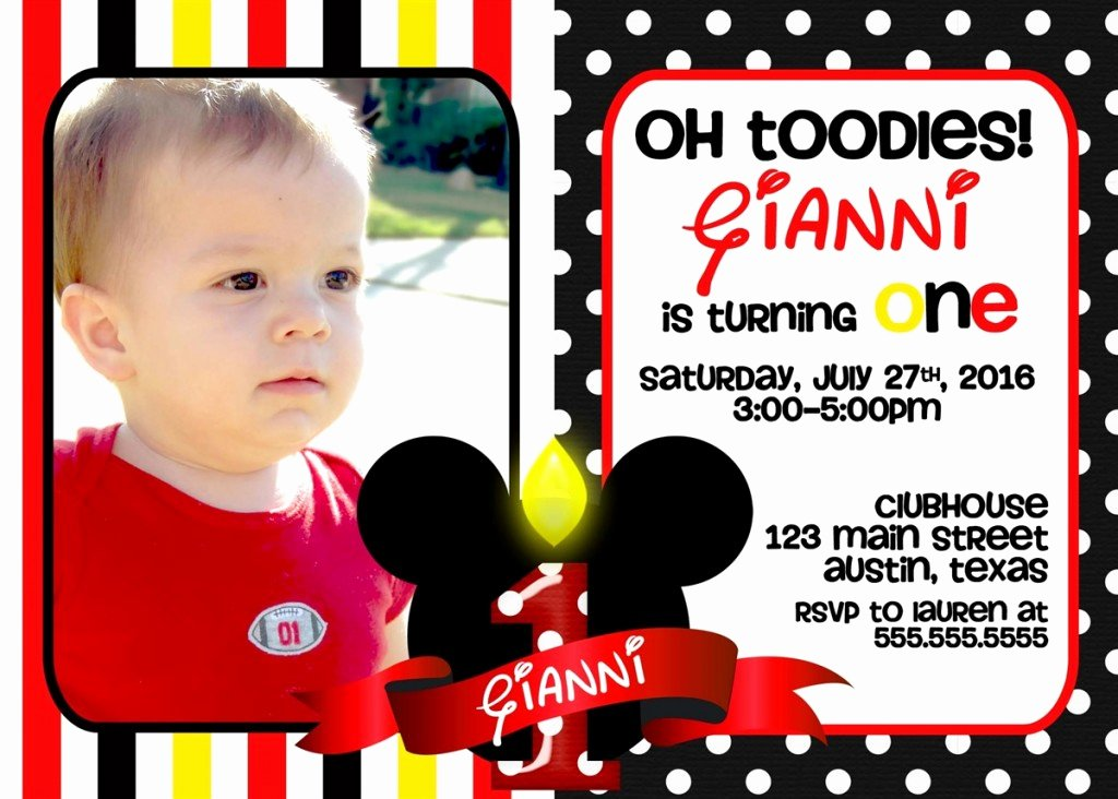Mickey Mouse Picture Invitations Best Of Mickey Mouse 1st Birthday Invitations Ideas – Bagvania