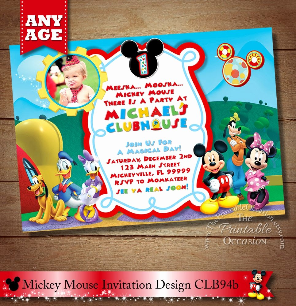 Mickey Mouse Picture Invitations Best Of Mickey Mouse Clubhouse Invitation Mickey Invitation