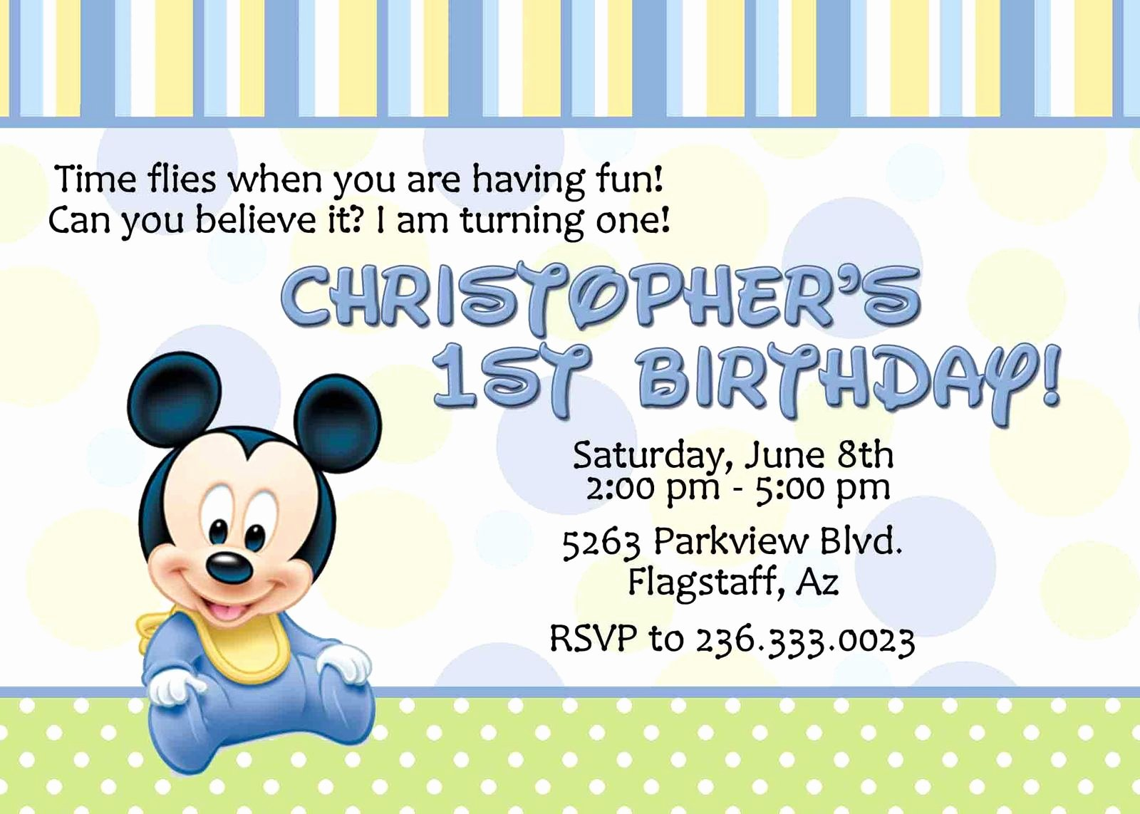 Mickey Mouse Picture Invitations Elegant Baby Mickey Mouse Invitation Set Envelopes Birthday