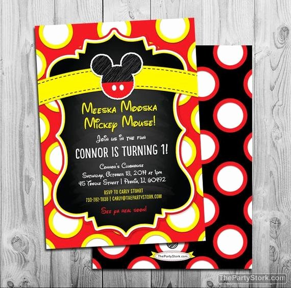 Mickey Mouse Picture Invitations Fresh Mickey Mouse Birthday Invitation Mickey Mouse Invites Mickey