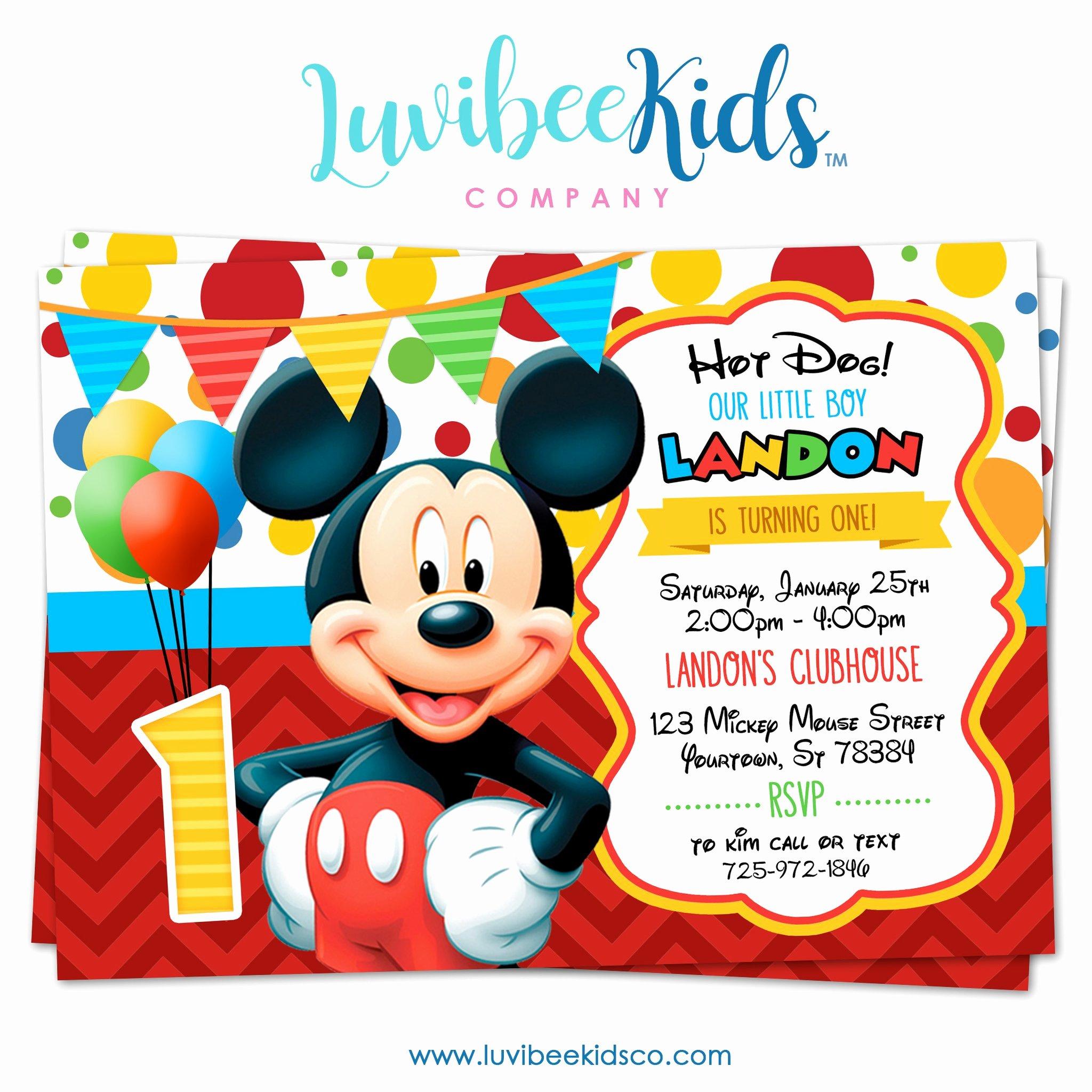 Mickey Mouse Picture Invitations Fresh Mickey Mouse Birthday Invitation Printable Invite