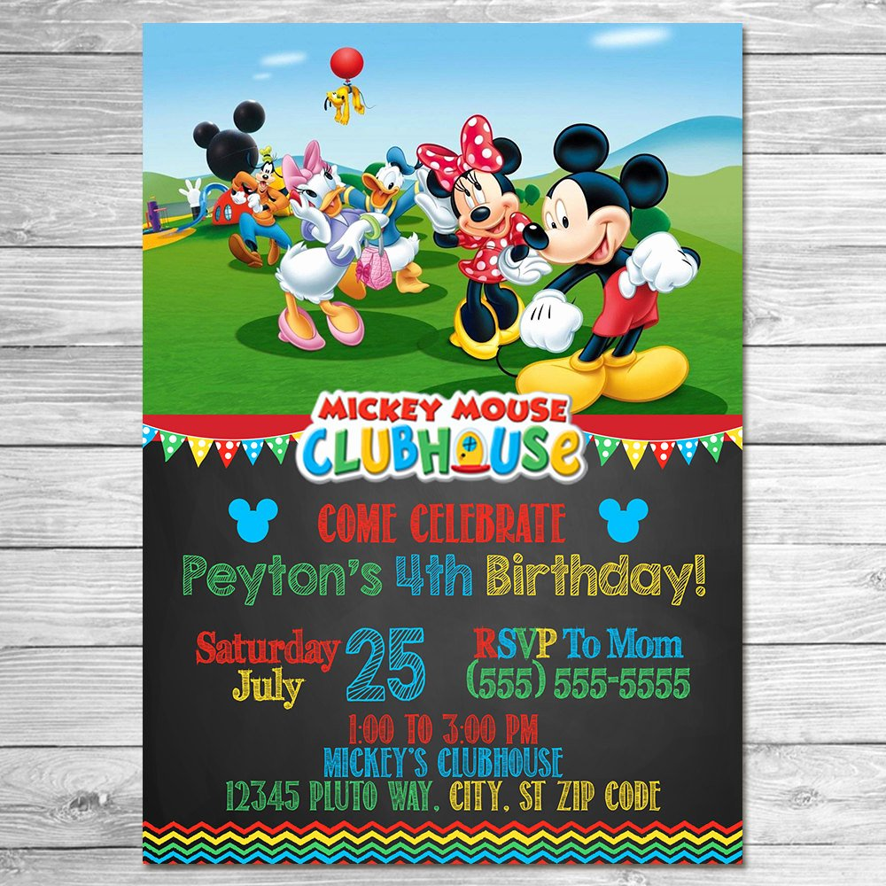 Mickey Mouse Picture Invitations Lovely Mickey Mouse Clubhouse Invitation Chalkboard Mickey Mouse