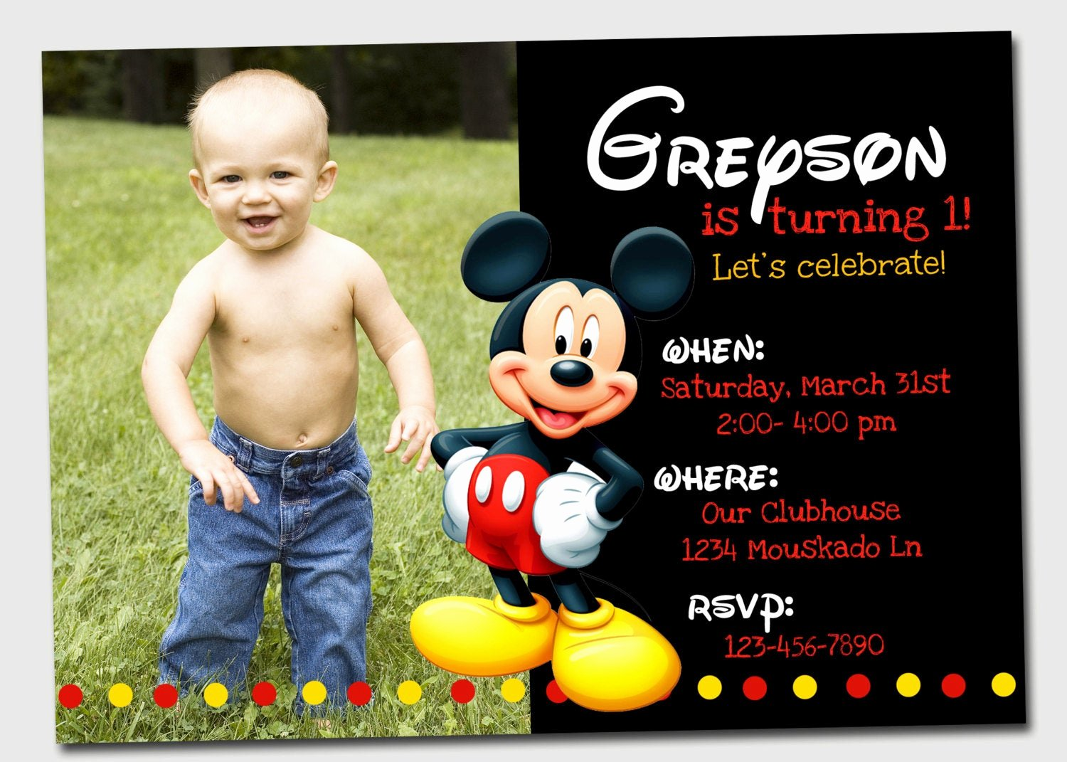 Mickey Mouse Picture Invitations Lovely Mickey Mouse Invitation