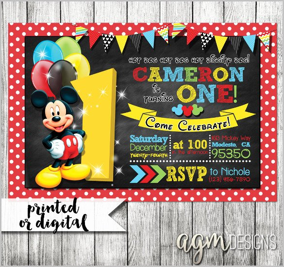 Mickey Mouse Picture Invitations Luxury Mickey Mouse Invitation Templates – 29 Free Psd Vector