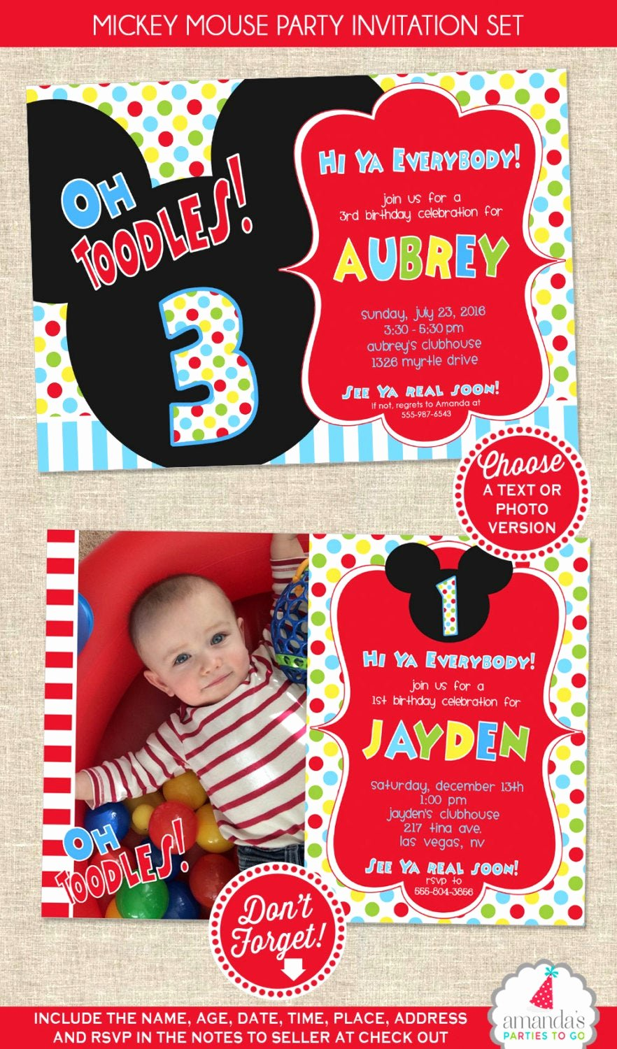 Mickey Mouse Picture Invitations Unique Mickey Mouse Birthday Invitation Mickey Mouse Party