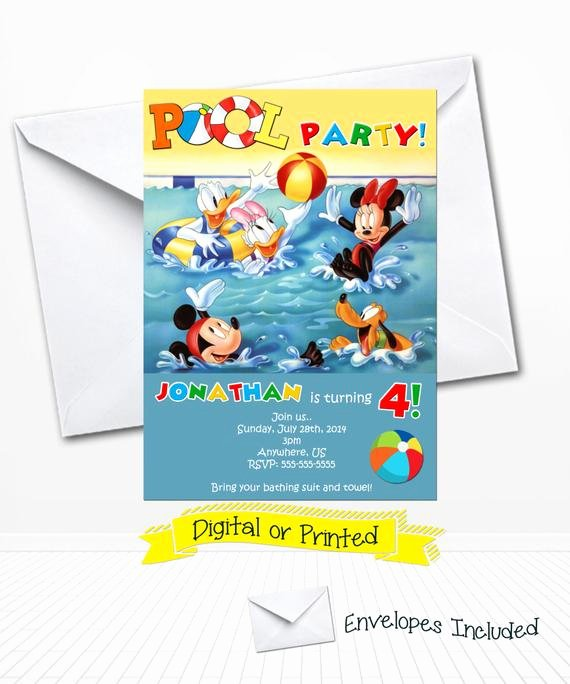 Mickey Mouse Pool Party Invitations Awesome Disney Mickey Mouse Pool Party Birthday Invitations by