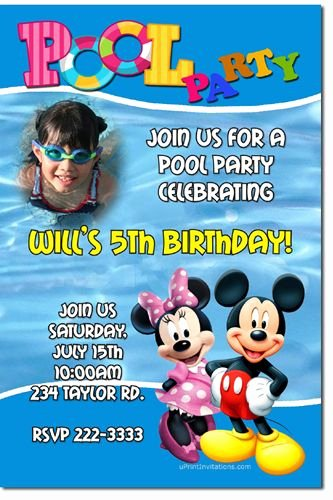 Mickey Mouse Pool Party Invitations Awesome Mickey and Minnie Mouse Pool Party Birthday Invitations