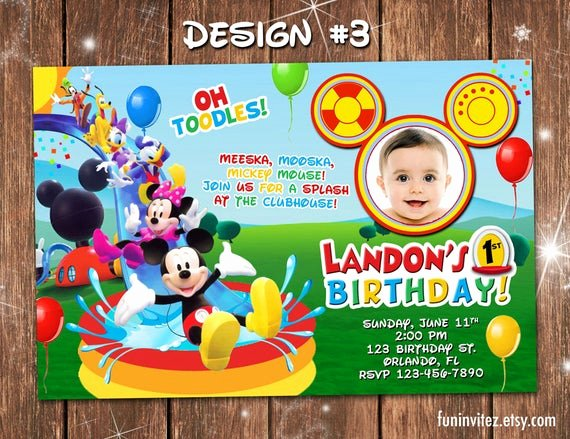 Mickey Mouse Pool Party Invitations Awesome Mickey Mouse Clubhouse Swim Splash Slide Birthday Party